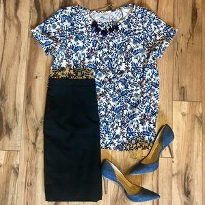 LOFT - Blue and White Floral Blouse (size M)